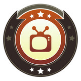 Television, movie, or video icon on imperial vector button poster