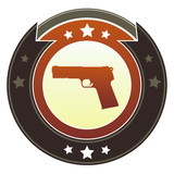 Gun, crime, or violence icon on imperial vector button poster