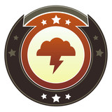 Storm cloud, trouble, or weather icon on imperial button poster