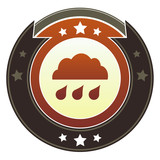 Rain cloud, storm, or trouble icon on imperial vector button poster