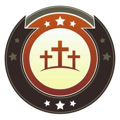 Calgary cross icon on autumn imperial button
