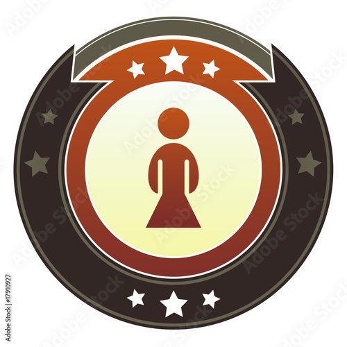 Female icon on imperial vector button with star accents