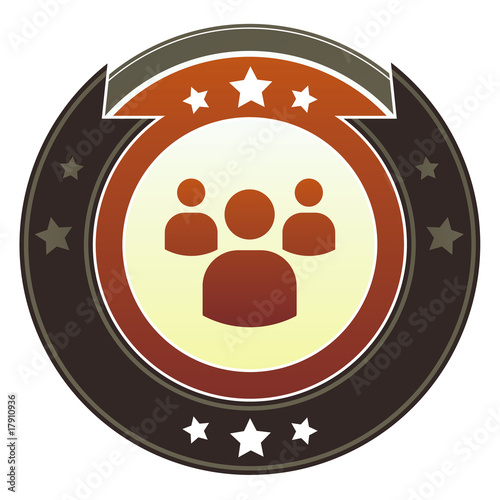 Group, social, or community icon on imperial vector button