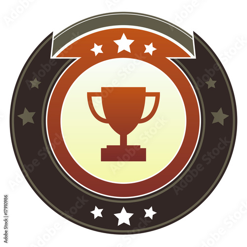 Trophy, contest, or award icon on imperial vector button