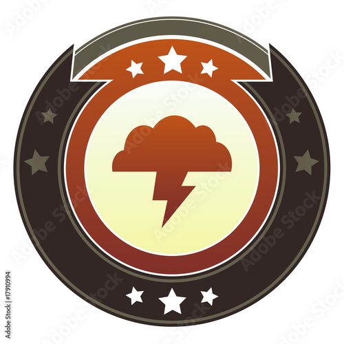 Storm cloud, trouble, or weather icon on imperial button