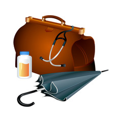 Doctor's kit: bag with stethoscope, jar of pills and umbrella
