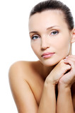 beauty calm caucasian woman with purity skin poster
