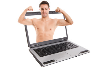 man coming out of the laptop