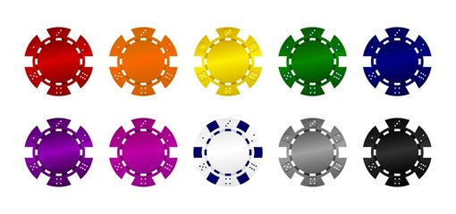 10 Bunte Pokerchips Vektor