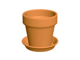 Terracotta pot isolated on white background. poster