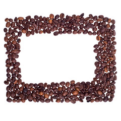 Frame made of coffee beans isolated on white