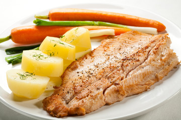 Fish dish - fried fish fillet with potatoes and vegetables