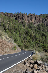 Mountain Road in El Teide National Park, Tenerife Spain