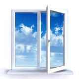 Obraz na płótnie Otwórz okno i podziwiaj białe chmury na błękitnym niebie