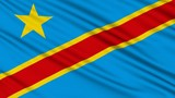 Congo Flag, with real structure of a fabric