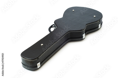 Black guitar case isolated on the white