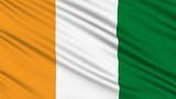 Ivory Coast flag, with real structure of a fabric poster
