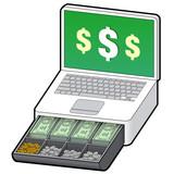 Laptop cash register e-commerce metaphor poster