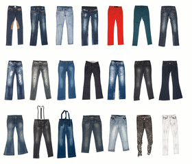 various types of jeans pants