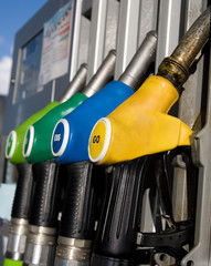 Different types of fuel dispensers at filling station