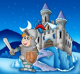 Castle and knight in winter landscape