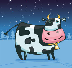 Cute winter cow