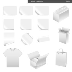 vector set white collection paper - packaging 14 pieces