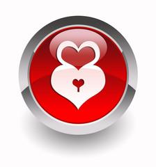Heart-lock glossy icon