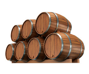 Wine barrels isolated on white