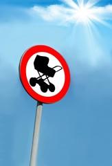Sign - pushchair ban