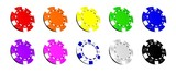 10 Bunte Pokerchips 3D
