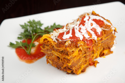Lasagn on a white plate
