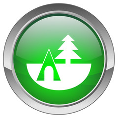"""Camping"" Button (green; vector)"