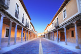 Old Castilla street with arcades. Ampudia, Valladolid poster