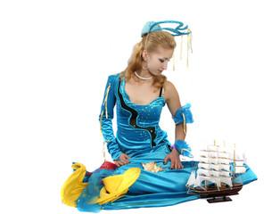 girl in a blue dress marine