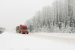 red truck on winter road - 17949332