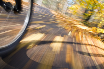 Riding bicycle. Abstract motion blur.