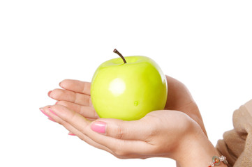 green apple in hands