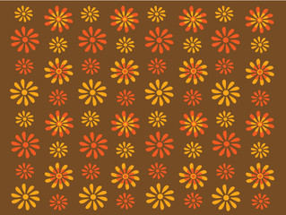 Gold and orange retro flowers on a brown background