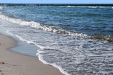 beach and waves at the baltic sea in zingst, germany poster
