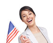Happy young woman holding an American flag on white background