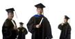 Graduate in front of Blurry Graduates