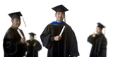 Graduate in front of Blurry Graduates poster