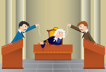 Cartoon judicial sitting(vector, CMYK)