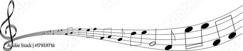 isolated clef with notes on white background - 17959716