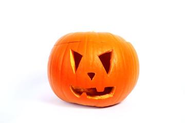 Halloween pumpkin over white background