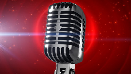Microphone on stage with lens flare