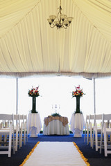 Interior view of wedding tent