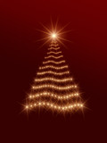 shining christmas tree in red