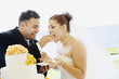 Multi-ethnic bride and groom eating cake